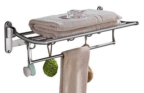 Toallero para estante de baño con soporte plegable para barra de toallas y ganchos para montar en la pared, multifuncional, níquel cepillado