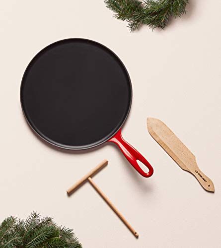 "Le Creuset Enameled Cast Iron Crepe Pan with Rateau and Spatula, 10.75"", Cerise"