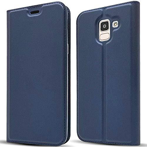 NALIA Hülle Klapphülle kompatibel mit Samsung Galaxy J6 (2018), Kickstand Handyhülle Smartphone Flip-Hülle Dünn Kunstleder Book-Cover Magnet Ganzkörper Schutz R&um Handy-Tasche Etui, Farbe:Blau