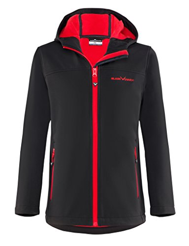 Black Crevice Kinder Softshelljacke, schwarz/Rot,