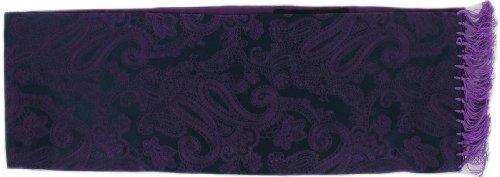Michelsons of London Violet étroite écharpe Jacquard Paisley Silk de