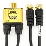 ホーリック アンテナ分波器 BS/CS/地デジ/4K8K放送対応 極細ケーブル一体型 10cm ブラック ネジ式コネクタ AE-324SB