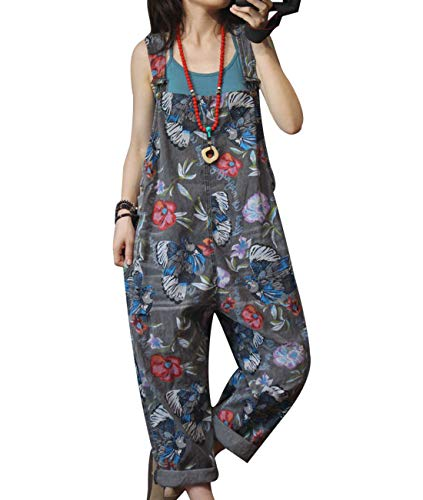 YESNO Women Casual Loose Holed Boyfriend Overalls Fade Floral Jeans Loose Waist Jumpsuits Rompers Pockets P2A