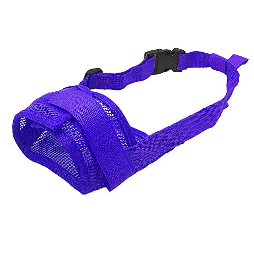 YAODHAOD Nylon Mesh Breathable Dog Mouth Cover, Quick Fit Dog Muzzle with Adjustable Straps,Pet Mouth Cover, to Prevent Biting and Screaming to Prevent Accidental Eating (M, Blue) Review