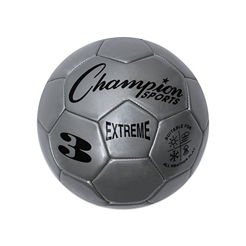 Champion Sports Extreme Series Soccer Ball, Size 3 - Youth League, All Weather, Soft Touch, Maximum Air Retention - Kick Balls for Kids Under 8 - Competitive and Recreational Futbol Games, Silver