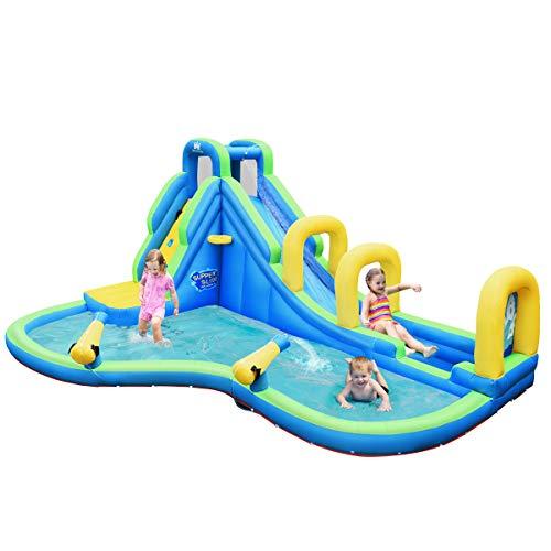 COSTWAY Hüpfburg Wasserrutsche Spielpool Aufblasbare, Wasserspielcenter mit Rutsche, Wasserpark aufblasbar, Planschbecken 478x366x242cm
