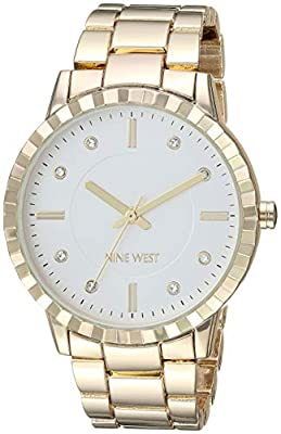 Nine West Women's NW/2282SVGP Crystal Accented Gold-Tone Bracelet Watch