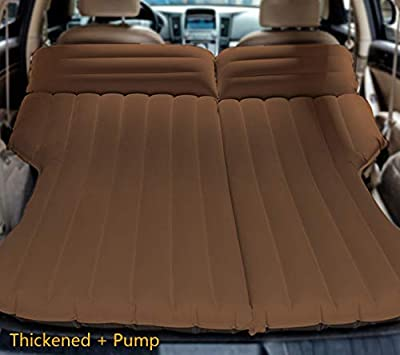 LUOOV Multifunctional Car SUV Air Mattress Camping Bed,Outdoor SUV Dedicated Mobile Cushion Extended Travel Mattress Air Bed Inflatable for SUV Back Seat,Fit 95% SUV with Pump (Coffee+Pump)