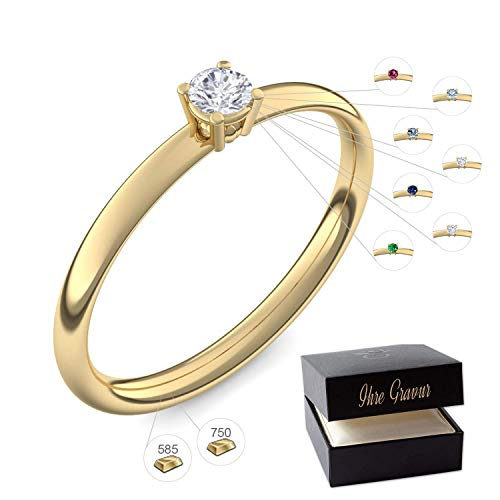 Verlobungsring Gold 585 750 PERSONALISIERT + ETUI mit individueller GRAVUR Damen-Ring Heiratsantrag Diamant-Ring Zirkonia Aquamarin Rubin Smaragd Saphir Brillant Blautopas