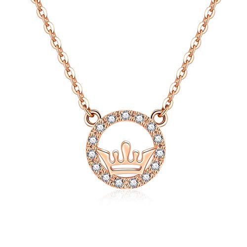 RQQ S925 Sterling Silver Necklace with Letter Necklace and Collarbone Chain for Women CrownNecklace