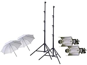 Lowel Tota-light 2-Pk Wide Angle Quartz Light, 120-220/240v, 300-800w - Bundle with 2x Lowel T126 Tota-brella Special 27in White Umbrella, 2x Flashpoint Pro Air Cushioned Heavy Duty Light Stand, 9.5'