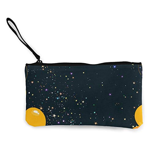 Rterss Kleurrijke gele en oranje vliegende ballonnen muntportemonnee portemonnee tas geld zak veranderen zak sleutelhouder mobiele telefoon tas met handvat bedrukt canvas gepersonaliseerd