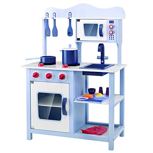 Lauraland Play Kitchen, Wooden Little Chef Pretend Play Kitchen Cooking Toy Set...