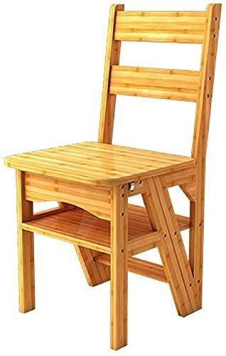 QI-shanping Sgabello Pieghevole di bambù in 4 Fasi Stair Chair, casa Sgabello Pieghevole Multi-Funzione di Scala di risalita/Schienale Sedia da Pranzo/Ripiano (Color : Bamboo Color)