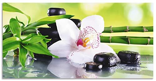 Artland Spritzschutz Küche aus Alu für Herd Spüle 50x100 cm Küchenrückwand mit Motiv Natur Zen Pflanze Spa Steine Bambus Asien Orchidee T9IQ