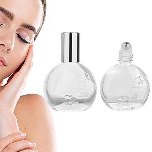 KUOZEN Botellas Cristal Esenciales Botellas de Vidrio de Fragancia Vacío Botella de Rodillo aceites Esenciales Silver