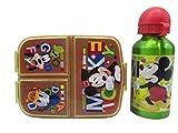CM Set Botella de Agua de Aluminio Infantil y Fiambrera con 3 Compartimentos para Colocar los almuerzos - para niñas, cantimplora a Prueba de Fugas sin BPA 400ml (Verde-MIK)