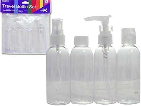 Travel Bottle Dedication In stock 4 pcs Set 96 Case of Transpa