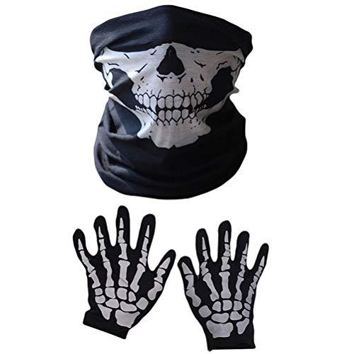 SOIMISS 3Pcs 1Set Misteriosa Cubierta de la del crneo Aterradores Guantes de impresin de Halloween