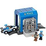AOUVIK Voleur de Police attrapant Un Mini Costume de Construction, Compatible avec Le Jouet de Voie de Train en Bois, Costume de Poste de Police en Plastique de Simulation