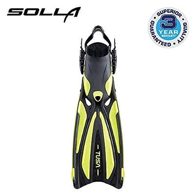 TUSA SF-22 Solla Open Heel Scuba Diving Fins, Small, Flash Yellow