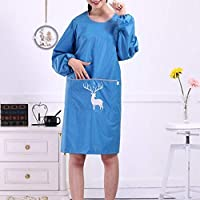 DOLORES 2PCS / LOTファッション長袖のレインコートエプロンキッチン大人のドレス エプロン 女性のエプロン ガーデンエプロン おばあちゃんのエプロン ガールエプロン (Color : Blue, UnitCount : 2PCS)