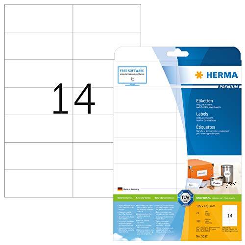 HERMA 5057 Universal Etiketten DIN A4 (105 x 42,3 mm, 25 Blatt, Papier, matt) selbstklebend, bedruckbar, permanent haftende Adressaufkleber, 350 Klebeetiketten, weiß