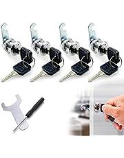 [4 piezas] Cerradura de buzón, cerradura cilíndrica cerradura de gabinete cerradura de leva cerradura de casillero cerradura de cajón, herramienta de instalación incluida, cerradura con 8 llaves