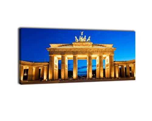 wandmotiv24 Leinwandbild Panorama Nr. 119 Brandenburger Tor 100x40cm, Bild auf Leinwand, Berlin, Mauer, Deutschland