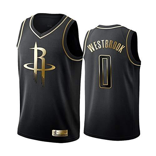 FEZD Männer Jersey, Rockets # 0 Westbrook Schwarz Gold Edition Jersey, Cool Atmungsaktiv, Unisex Basketball-Fan Ärmel Sport-Weste-Spitze,XL