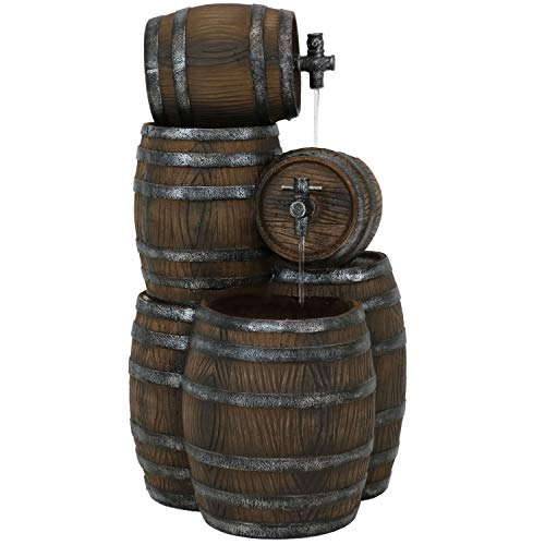 Sunnydaze Stacked Whiskey Barrel Outdoor Water Fountain with LED Lights, Rustic Yard & Garden Cascading Waterfall Feature, 29-Inch
