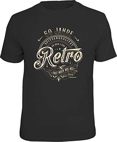 RAHMENLOS Original Geschenk T-Shirt zum 50. Geburtstag: 50 Jahre Retro, Fast noch wie neu! S