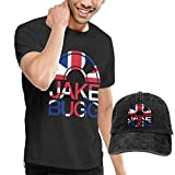 Thimd Camiseta de Manga Corta para Hombre,Gorra de béisbol Combinación Negro Jake Bugg Tshirt and Washed Denim Baseball Dad Hat Black
