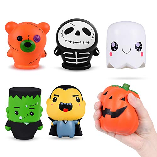 Halloween Squishy Toys Gifts for KidsAdults Slow Rising Toys for Stress Relief Sensory Games Party Favor Decoration-6 Pack