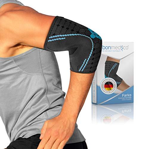 bonmedico Farko Ellenbogen-Bandage unisex, stützt Ellenbogengelenk & Muskeln, elastische Gelenk-Bandage aus Kompressionsgestrick bei Schmerzen & zur Vorbeugung, links & rechts, XL