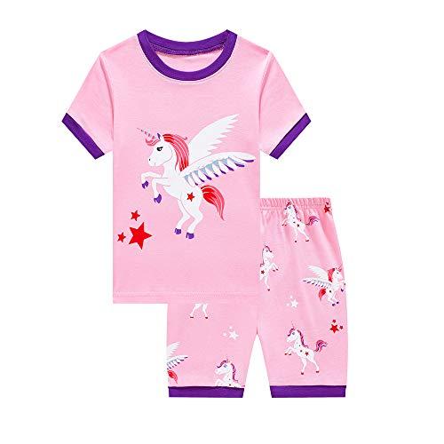 Mixidon Mädchen Schlafanzug, Sommer, kurze Sets, Nachtwäsche, 100% Baumwolle, Kleinkind-Pyjama, Kleider-Größe 2 - 10 Jahre Gr. 2-3 Jahre, Pink5