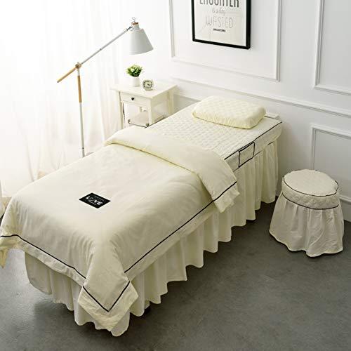 KE & LE Massage Tafelblad Sets 4 Pc Katoen Sheet Set Hoeslaken Met Gezicht Rest Gat Pure Kleur Aanpasbaar