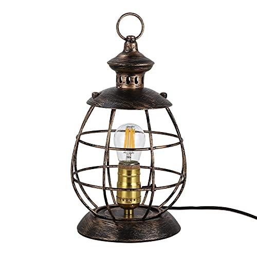 Lámpara de mesa industrial con jaula de alambre, 2 en 1 Hurricane Lights Fixture, Escritorio con enchufe en cable, E27 Antiguo Vintage Steampunk, lámpara de noche de metal para dormitorio, salón