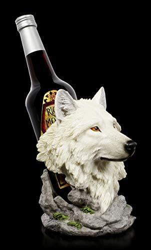 Wolfskopf Wein-Flaschenhalter - Snow Guide | Fantasy Flaschenständer, handbemalt