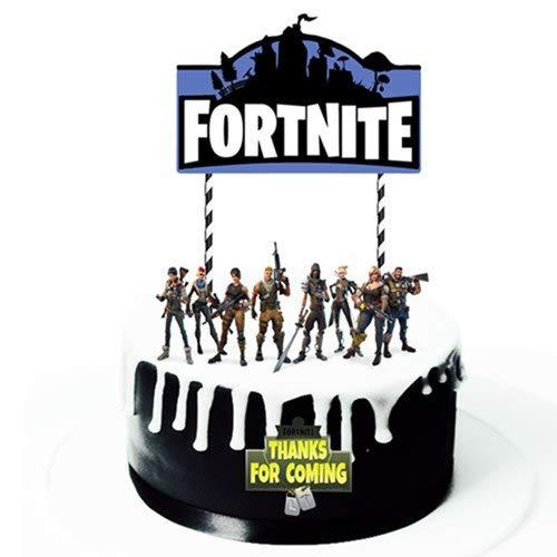 Lot de 12 décorations de gâteau (gâteau) sur le thème du jeu - Peuvent être utilisées pour la décoration de fête d'anniversaire Fortnite.