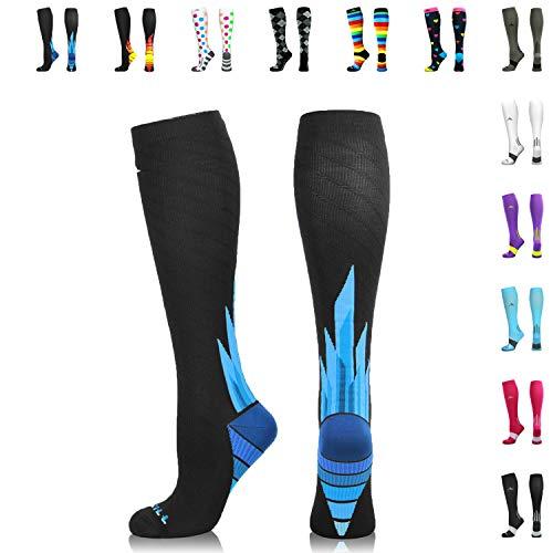 NEWZILL Compression Socks (20-30mmHg) for Men & Women (i-Ice, Medium)