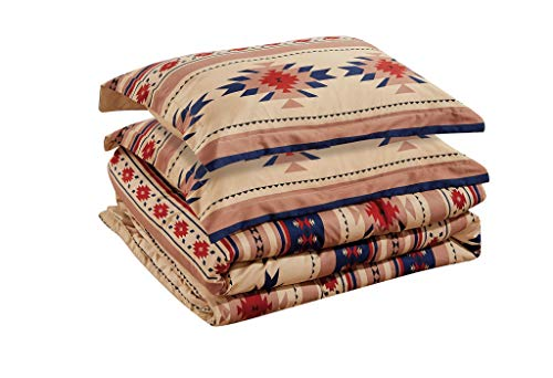Chezmoi Collection 3-Piece Southwestern Geometric Tribal Multicolor Coffee Brown Navy Red Comforter Set, Queen Size