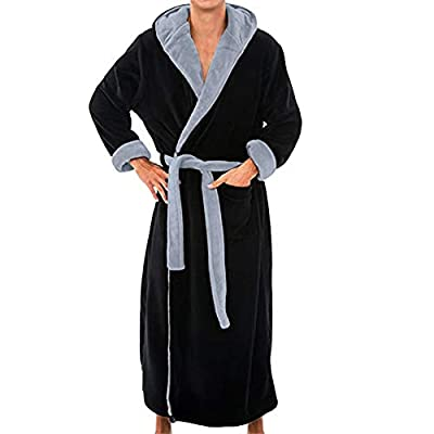 TIFENNY Men's Winter Soft Thicken Lengthened Plush Shawl Bathrobe Home Clothes Long Sleeved Robe Coat