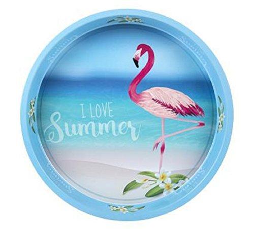 Plateau en métal Flamingo - I love Summer - Flamant Rose