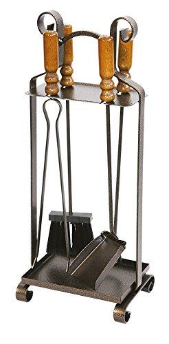 k2calore kt0553 – Set de 4 Pièces pour cheminée (fer forgé avec manche en bois, 27 x 65 cm)