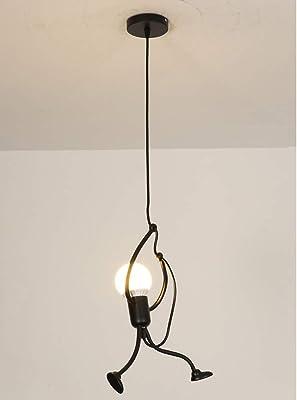 Lámpara colgante negra altura ajustable mesa de comedor lámpara colgante creativa pequeña gente lámpara de diseño de sala de estar perfecta para sala de estar comedor cocina. Sin iluminante,1flammig: Amazon.es: Iluminación