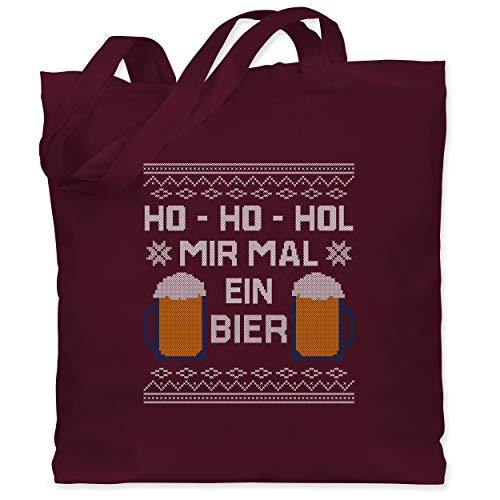 Weihnachten & Silvester - Ho Ho Hol mir mal ein Bier - Unisize - Bordeauxrot - Statement - WM101 - Stoffbeutel aus Baumwolle Jutebeutel lange Henkel