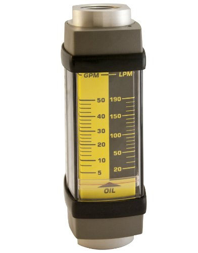 Hedland H761A-050 Flowmeter, Aluminum, For Use With Oil and Petroleum Fluids, 5 - 50 gpm Flow Range, 1