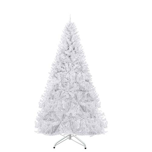 Strong Camel 7 ft Artificial Christmas Tree White Xmas Spruce Tree w/Metal Christmas Tree Stand (7 ft)