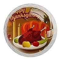 4個のキャビネットノブクリスタルガラスの引き出しハンドル幸せな感謝祭のトルコの夕食 ドレッサーデスクキッチンドア用